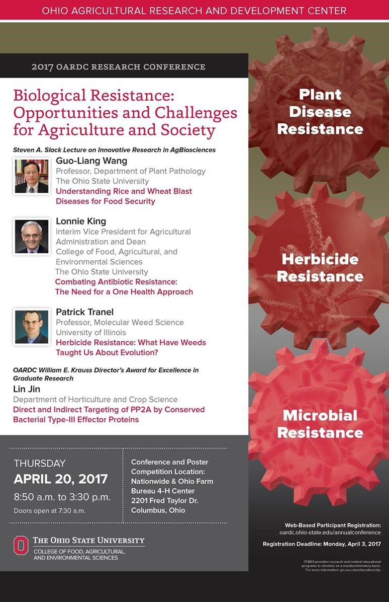 "2017 OARDC Annual Research Conference: ""Biological Resistance: Opportunities and Challenges for Agriculture and Society"""