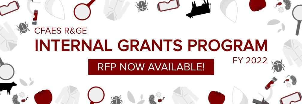 CFAES R&GE Internal Grants Program FY 2022 RFP Now Available text surrounded by small icons of bugs, magnifying glasses, lab coats, tomatoes, leaves, cows, bacterium, water droplets, goggles, and microscopes.
